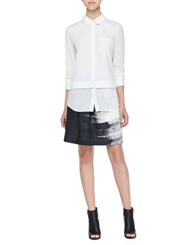 867b7d1a35 Vince Mixed-Fabric Layered Blouse & Brushstroke-Print Pleated Skirt ...