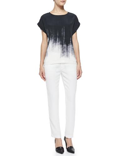 Brushstroke-Print Silk Tee & Satin-Striped Tuxedo Trousers