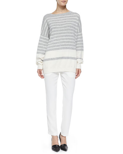 Cashmere Banded Ribbed Sweater & Satin-Striped Tuxedo Trousers