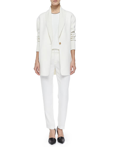 Shawl-Collar Knit Blazer Cardigan, Mixed-Media Trimmed Tee & Satin-Striped Tuxedo Trousers