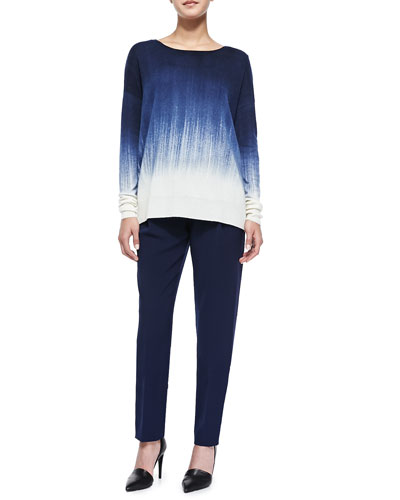 Painted Ombre Knit Sweater & Satin-Striped Tuxedo Trousers