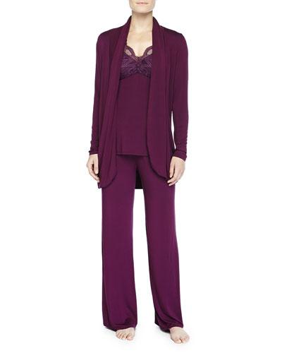 Belle Epoque Lace-Inset Pajama Set & Fantasy Soft Jersey Wrap, Potent Purple