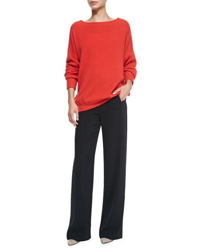 Vince Cashmere Boat-Neck Oversize Sweater & Sailor-Button Wide-Leg Pants