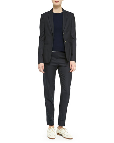 Skinny-Lapel Two-Button Jacket, Cashmere Short-Sleeve Sweater & Large-Cuff Wool-Blend Skinny Pants