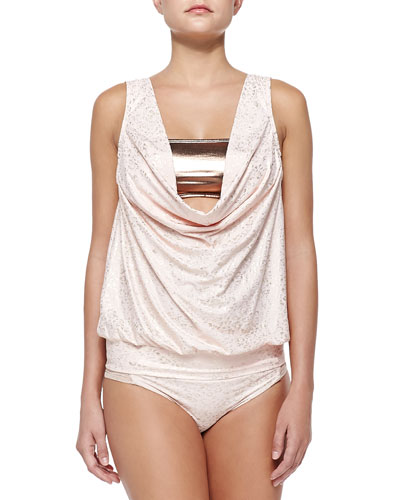 Second Skin Metallic Draped Tankini Top & Shimmery Swim Bottom