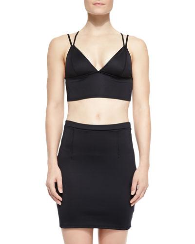 Jacqui Split-Strap Swim Top & Ursula Hipster Swim Bottom, Neolux Fitted Capri Skirt