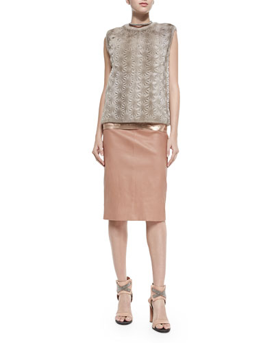 Brunello Cucinelli Perforated Flower Mink Fur Top, Lamé Scoop-Neck Tank, Leather Pencil Skirt & Monili Chain-Wrapped Necklace