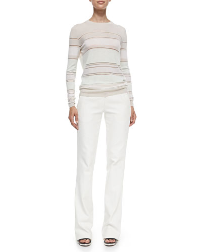 Striped Merino Pullover Sweater & Cotton Twill Boot-Cut Trousers