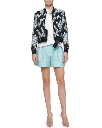 Geometric-Print Textured Jacket w/ Leather Belt, Draped Tuck-In Blouse & Pleated Jacquard Curved-Hem Shorts