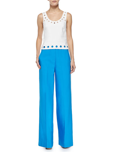 Cropped Embroidered-Eyelet Tank & Wide-Leg Pants with Elastic Waist