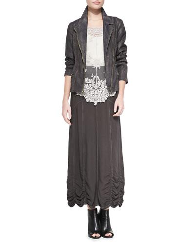 Norton Snakeskin-Print Moto Jacket, Pierrette Biltmore Lace Top, Basic Tank Top & Alva Twill Maxi Skirt, Women