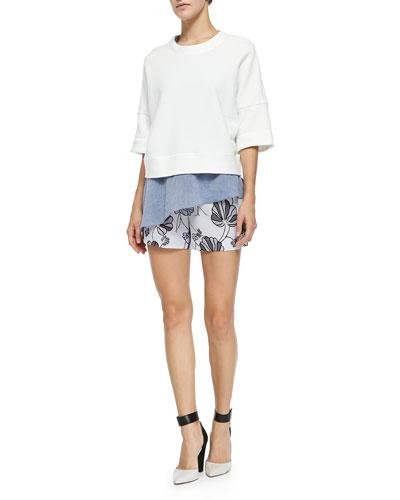 2-in-1 Sweatshirt W/ Asymmetric Ruffle & Floral Boxer Shorts W/ Drawstring