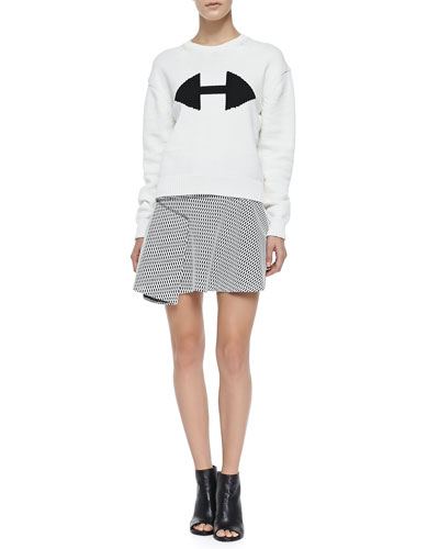 Ribbed Crewneck Sweater W/ Arrow Detail & Printed Flared Skirt W/ Side Ruffle