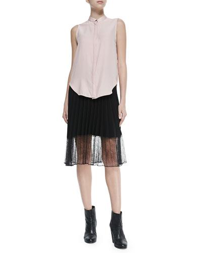Rag & Bone Kent Sleeveless Shirt W/ Hidden Placket & Lyndale Pleated Skirt W/ Lace Hem
