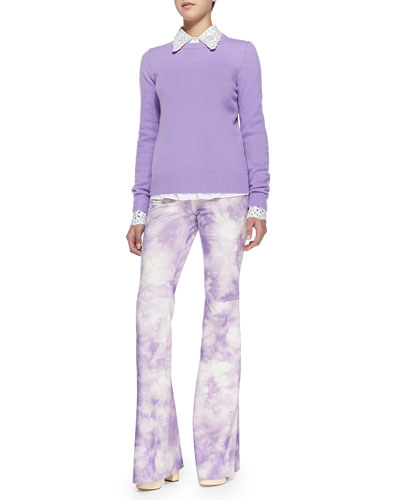 Cashmere Crewneck Sweater, Crystal/Eyelet Embellished Shirt & Tie-Dye Suede Bell-Bottom Pants