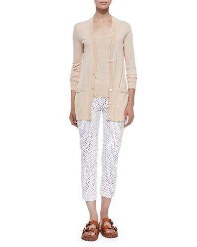 Long Cashmere Cardigan, Cashmere Tank Top & Samantha Cropped Eyelet Pants