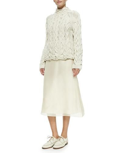 THE ROW Chunky Cable-Knit Sweater & Flowy Chiffon Midi Skirt