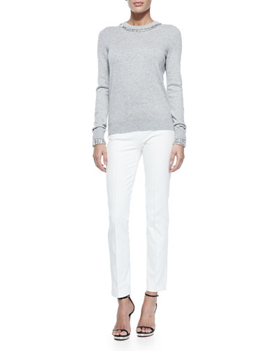 Embellished Cashmere Crewneck Sweater & Side-Zip Skinny Pants
