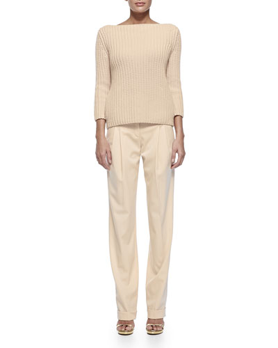 Shaker-Knit Cashmere Boat-Neck Sweater & Pleated Slouch Trousers