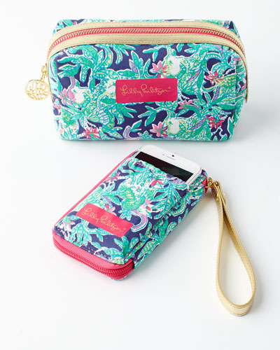 Navy Trunk Smartphone Wristlet & Cosmetic Case