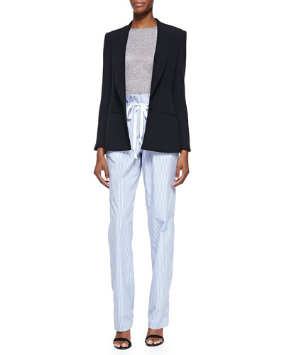 Side Vent Shawl Collar Blazer, Long-Sleeve Crewneck Top & Striped Paperbag-Waist Pants
