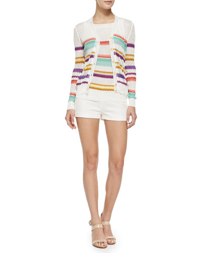 Button-Front Cardigan W/ Zigzag Stripes, Multi-Striped V-Back Tank & Woven Side-Zip Shorts