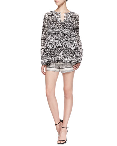 Long-Sleeve Paisley Blouse W/ Contrast Collar & Tweed Shorts with Braided Trim