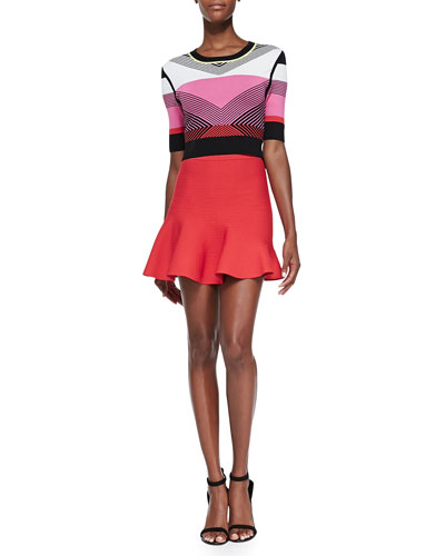 Chevron-Pattern Knit Crop Top & Ribbed Flare-Hem Skirt