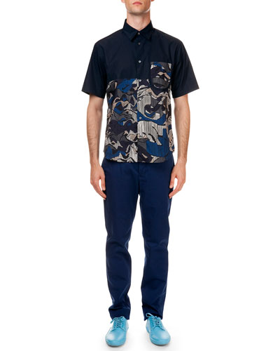 Floral-Print Short Sleeve Shirt & Poplin Pants with Tiger Detail