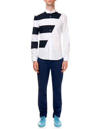 Long Sleeve Button-Down Shirt with Racing Stripe & Poplin Pants with Tiger Detail