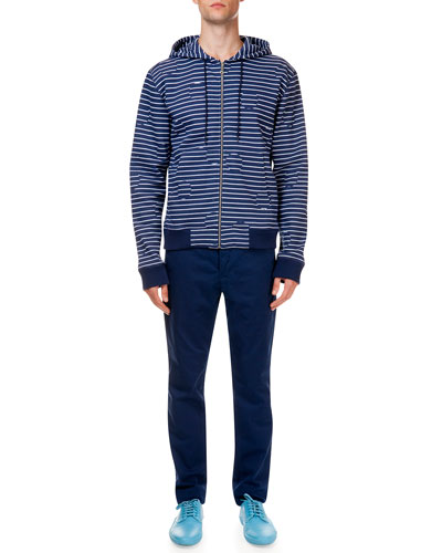 Striped & Broken Dot Pattern Zip Jacket & Poplin Pants with Tiger Detail