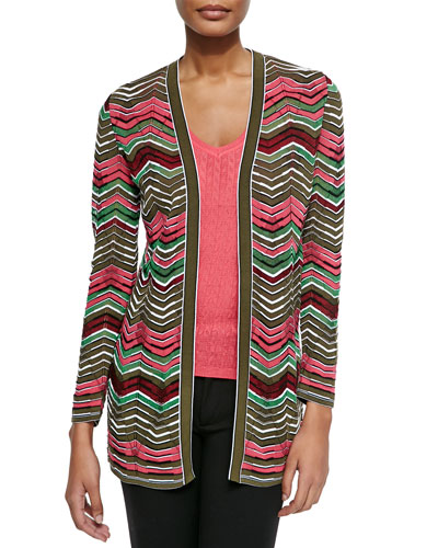 Multi-Striped Zigzag Cardigan & Solid Chevron Knit Tank