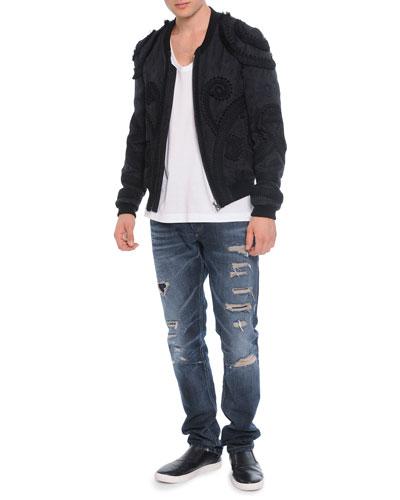 Passementerie Embroidered Bomber Jacket, Scoop-Neck Tee & Destroyed Denim Jeans