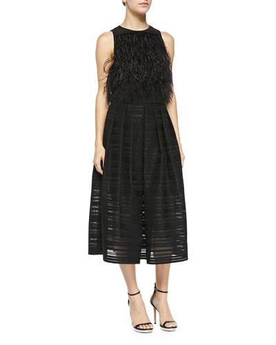 Cera Tuxedo Feathered Cropped Top & Ribbon Organza Pleated Midi Skirt