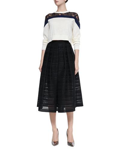 Chantilly Lace Cropped Sweater & Ribbon Organza Pleated Midi Skirt