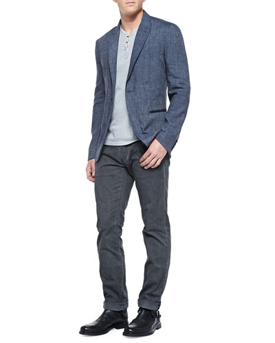 One-Button Jacket W/ Peaked Lapels, Short-Sleeve Henley Tee w/ Snaps & Bowery-Fit Faded Jeans