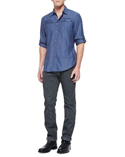 Double Zip-Pocket Shirt & Bowery-Fit Faded Jeans