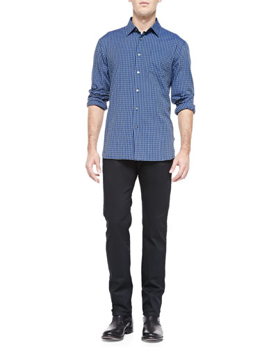 Check Shirt with Pointed Collar & Bowery-Fit Trouser Jeans