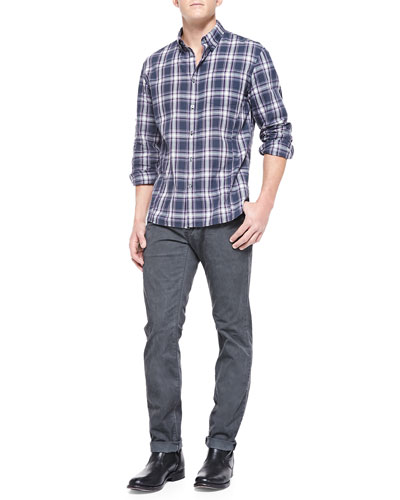Plaid Button-Collar Shirt & Bowery-Fit Faded Jeans