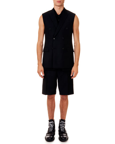 Sleeveless Double-Breasted Jacket, Sleeveless Polo & Wool Bermuda Shorts