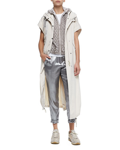 Brunello Cucinelli Short-Sleeve Hooded Taffeta Maxi Coat, Hooded Perforated Mink Fur Vest, Short-Sleeve Stretch Cotton T-Shirt & Silk Lamé Roll-Cuffed Pants