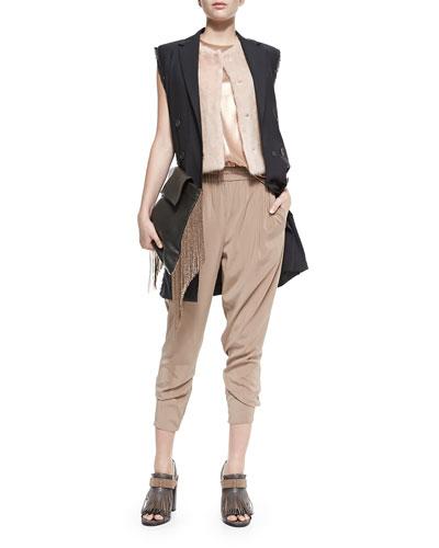 Brunello Cucinelli Snap-Front Mink Fur Vest, Lamé Scoop-Neck Tank & Silk Pants W/ Monili Side Panels