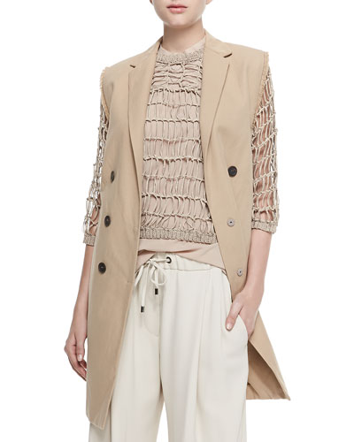 Brunello Cucinelli Long Double-Breasted Vest W/ Fringe, 3/4-Sleeve Netted Rubberized Pullover & Pleated Silk Crepe Culottes