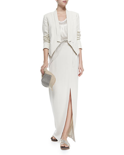Chain and Jute Baseball Cap, Cropped 3-In-1 Tux Jacket, Lamé Tank with Net Overlay