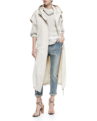 Brunello Cucinelli Layered Silk Crepe Tank & Elbow-Sleeve Sweater W/ Zip Shoulder & Short-Sleeve Hooded Taffeta Maxi Coat