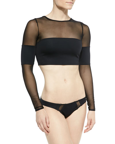 Halle Solid/Mesh Cropped Rashguard & Ursula Hipster Swim Bottom