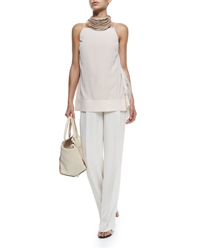 Brunello Cucinelli Strapped Tank W/ Ostrich Feather Sides & Wide-Leg Pleated Crepe Pants