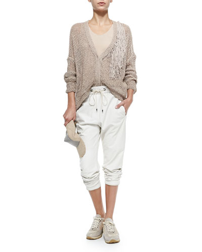 Brunello Cucinelli Chain and Jute Baseball Cap, Open-Weave Cardigan W/ Fringe Accent & Pull-On Napa Leather Pants