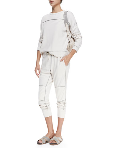 Brunello Cucinelli Felt Sweatshirt & Pants W/ Metallic Trim