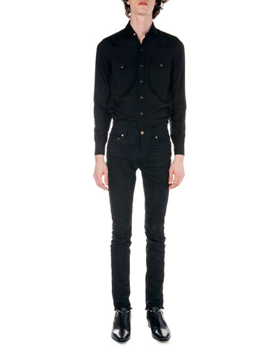 Western Long-Sleeve Shirt & Frayed Hem Skinny Jeans